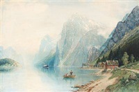 norwegian fiord scene by carl bertold