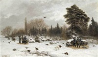 pheasant shooting in a winter landscape by max correggio