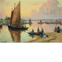 sunset harbor, concarneau by mathurin janssaud