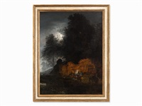 moonlight landscape by oswald achenbach