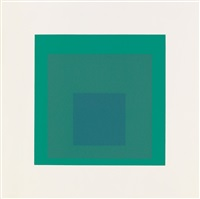 homage to the square, soft edge-hard edge (portfolio of 9 w/text) by josef albers
