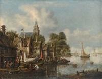 villageois au bord d'une rivière by thomas heeremans
