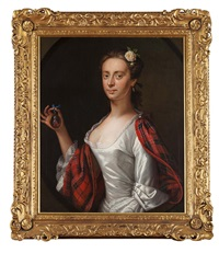 half-length portrait of a lady, believed to be jenny (jean) cameron by cosmo alexander