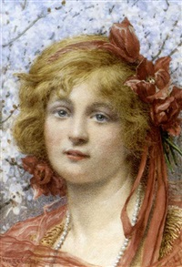 head of girl, with tulips in her hair by w. savage cooper
