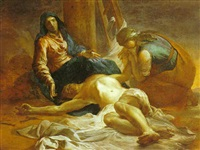 gesù deposto dalla croce, la madonna e s. maria maddalena by fra semplice da verona