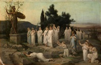 adoration of the goddess pallas athena by louis hector leroux