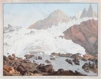 vue de la source de l'arveiron, des aiguilles verte, du dru et du bochard by jean-antoine linck