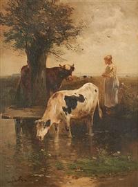 vaches s'abreuvant by henry schouten