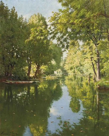 punts moored on still waters by henri biva