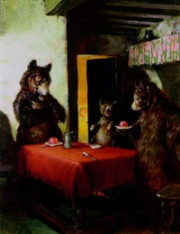 three bears at table while goldilocks snoozes by angus peter macdonall