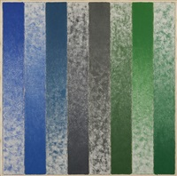 eight strips: alternate blue, pewter to green by hisahi momose