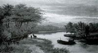 river landscape at sunset by e. lancaster hooper