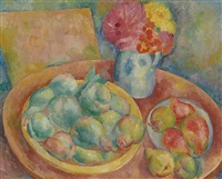 still life with pears and flowers by georges artemov