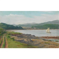 lake scene with sailboat by joseph-charles franchere