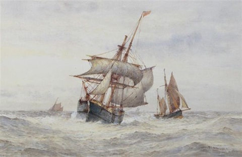 sailing ships on a choppy sea by frederick james aldridge