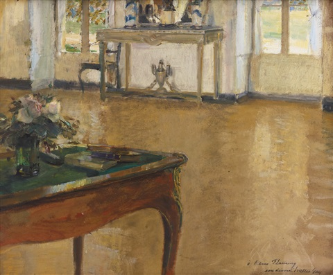 a bureau plat set with flowers by walter gay