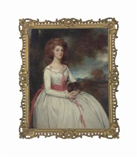 portrait of mrs moody (c.1767-1820), second wife of samuel moody, three-quarter-length, in a white dress trimmed with pink bows and a pink sash by george romney