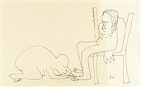 untitled illustration of a man worshipping at the feet of a woman on a chair by john lennon