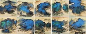 泼彩山水 (album w/10 works) by zhang daqian