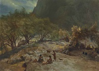 mariposa indian encampment, yosemite valley, california by albert bierstadt