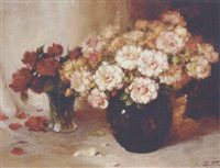 a still life of roses in glass vases by aristide goffinon