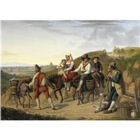 contadini ciociari con veduta di roma in lontananza by dietrich wilhelm lindau