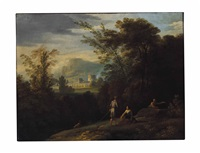 a landscape with shepherds, a town beyond by jan frans van bloemen