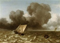 a smalschip, a rowing boat and other vessels in a rough sea by arnoldus van anthonissen