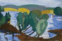 landscape on the riverside by józsef nemes-lampérth