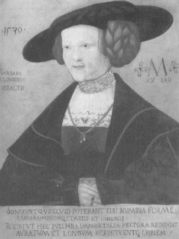 portrait of barbara kiligerin aged 20 half length in a dark red brocade and a black hat by hans maler