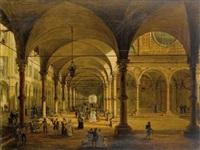 la veduta del portico di santa maria dei servi di bologna by antonio basoli