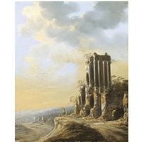 an extensive italianate landscape with ruins by charles cornelisz de hooch
