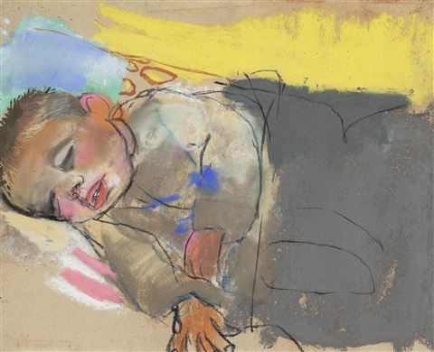 sleeping child yellow by joan kathleen harding eardley