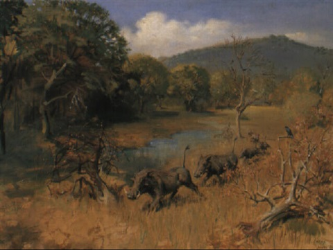 a family of warthog moving on by terence cuneo