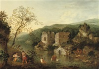 an italianate landscape with classical figures by a river by robert griffier
