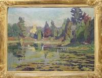 paysage. (eglise se reflétant dans un étang) by mathilde du monceau de bergendae