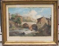 village avec pont enjambant une cascade by jean charles joseph remond