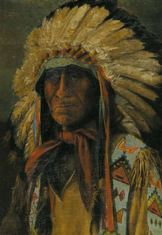 untitled portrait of an indian chief by henry metzger
