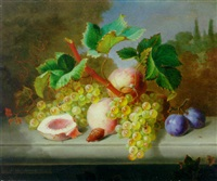 grapes, peaches and plums on a stone ledge by ange louis guillaume lesourd-beauregard
