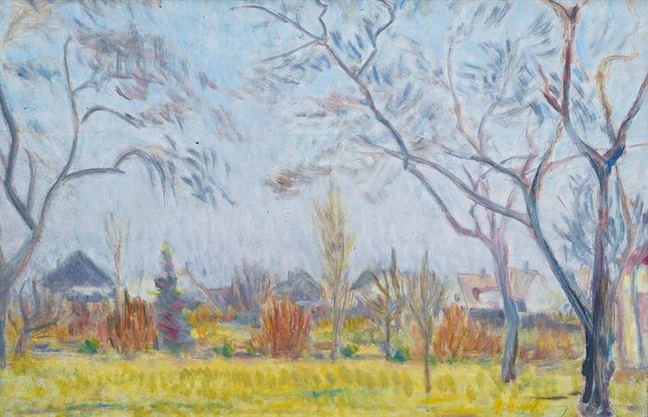 springlike landscape in hamburg by friedrich (fritz) ahlers-hestermann