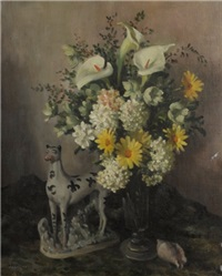 untitled (still life of porcelain dog and flowers) by sir daryl ernest lindsay