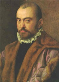 portrait of a gentleman, bust-length, wearing a fur-lined cloak by giuseppe (salviati) porta