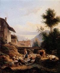 blanchisseuses près d'un ruisseau dans un paysage du dauphiné by isidore dagnan