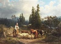 vallflicka med hjord i landskap by nils anderson