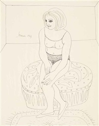untitled (seated woman) by francis newton souza