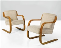 armchairs, model no. 34/402 (pair) by alvar aalto