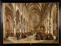 intérieur d'une église malinoise animée by victor vervloet