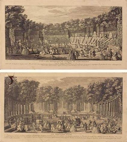 vue des bosquets du jardin de versailles le théatre deau à versailles 2 works by jacques rigaud
