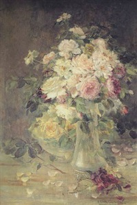 a still life of roses in a glass vase and bowl on a tabletop by maria louisa riva muñoz
