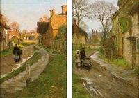 village scene (+ another; pair) by blandford fletcher